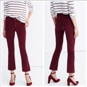 Madewell Cali Demi Boot Velvet Jeans